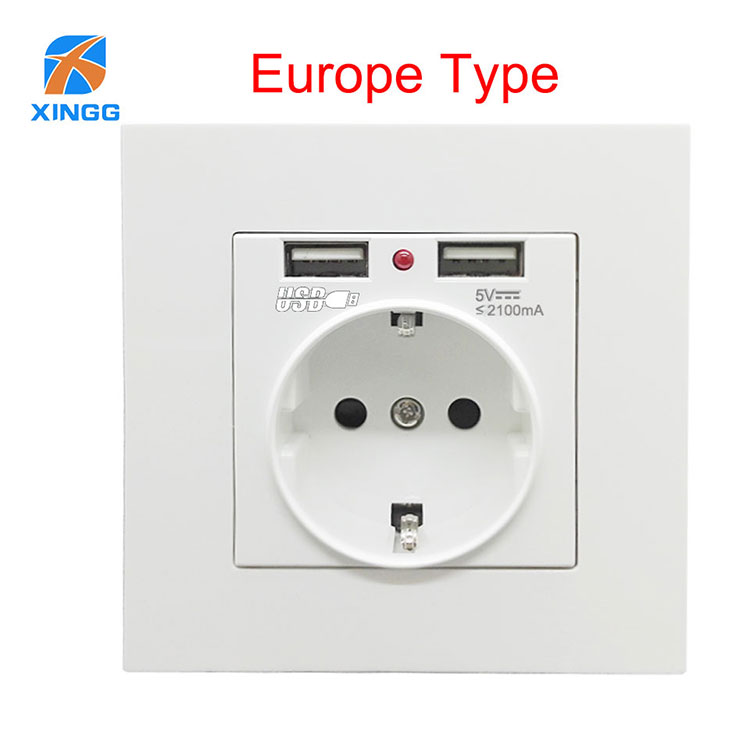 EU Dual 2.1A Charger Port Electrical Power USB Wall Socket