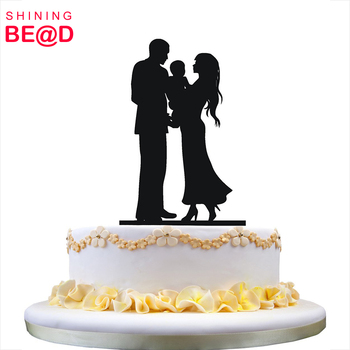 Personalized Sweet Wedding Cake Topper Silhouette Bride Groom With A Baby For Family Wedding Anniversary Party Buy Cake Topper Wholesale Cake