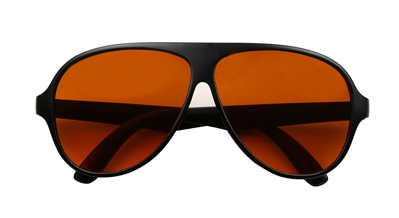 816a57b4e51 Get Quotations · ShadyVEU - Swank Blue Blocking Amber Tinted Lens Bomber XL  Aviator Sunglasses