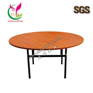 Hot sale walnut color table top black steel frame foldable round dining table YC-T01L