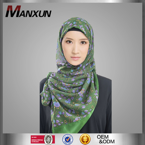 Hot Islamic Green Printed Hijab With Trim Muslim Stylish One Piece Floral Long Shawl