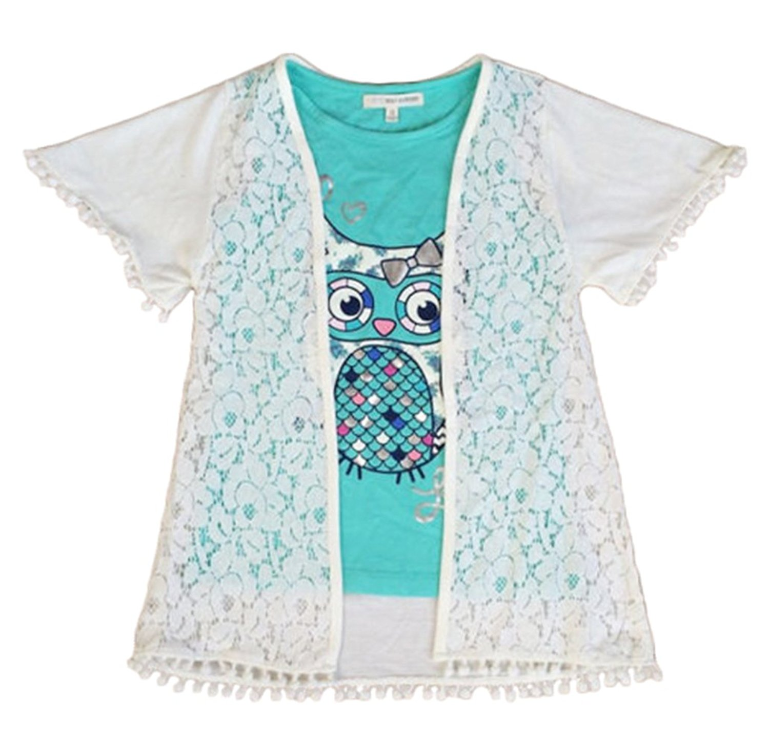 66329665595f9 Get Quotations · Girls Shirt Set 2pc Tops Lace Blouse Owl Shirts