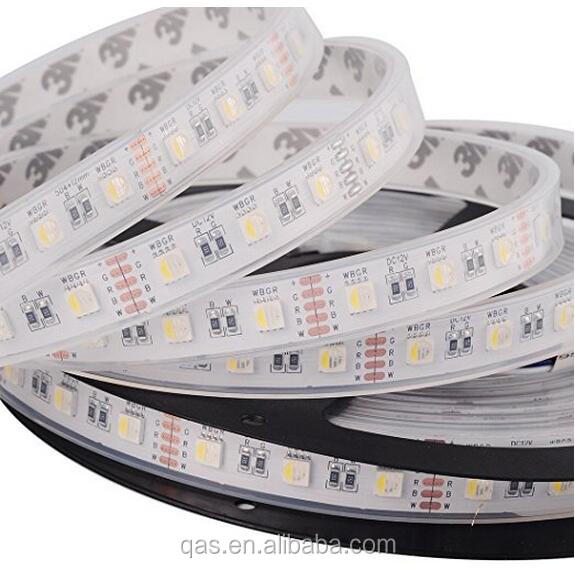 16.4ft 5M 5050 RGBWW 4 in 1 RGB+Warm White strip Mixed Color 60leds/m IP67 Waterproof in Tube 300LEDs Ribbon Lamps