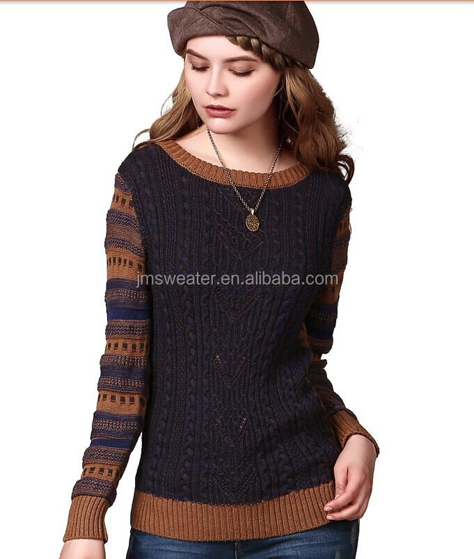 Ladies Winter Long Cable Knit Woodland Crew Neck Sweater Dress ...