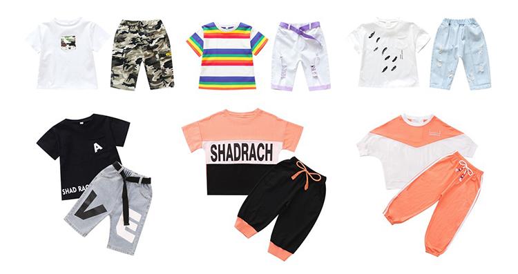 DRXX1905BDX0765 แนวโน้มใหม่ 2019 ชายเสื้อ t ชุดเด็กฤดูร้อนชุดเสื้อผ้าขายส่งแขนสั้นเสื้อผ้าเด็กชุด