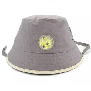 Child Kid Baby Waffle Check Embroidery Patch Bucket Hat Chin Strap Fisherman Sun Hat
