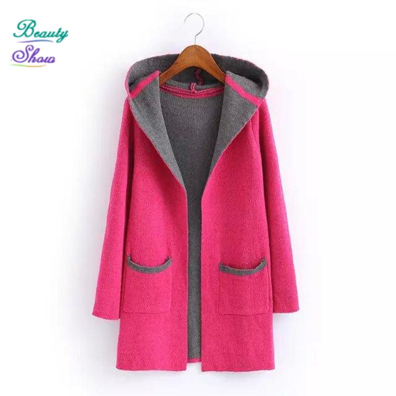 Women Cardigan 2015 New Fashion Full Sleeve Hooded Collar Causal Cardigan Feminino with Pockets Autumn Winter Knitted Sweater