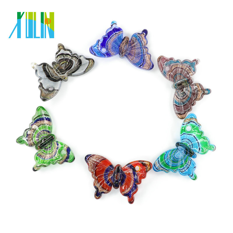 XULIN Handmade Glass Butterfly Murano Foil Lampwork Glass <strong>Pendants</strong> for necklace DIY 12pcs/box
