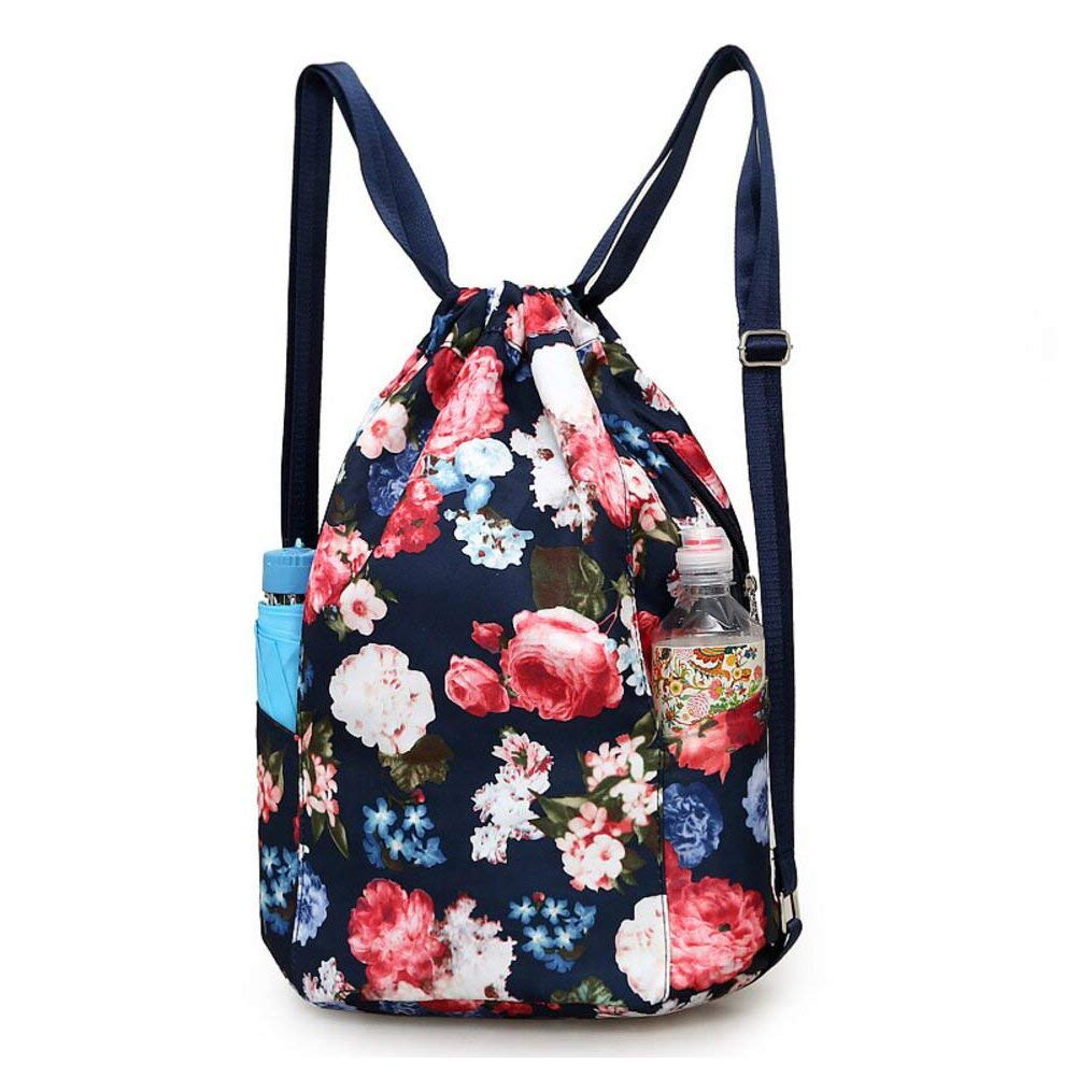 2a1368269e Get Quotations · Drawstring Backpack Flowers String Bag with Zipper and  Water Bottle Pockets Waterproof Sports Gym Bag for