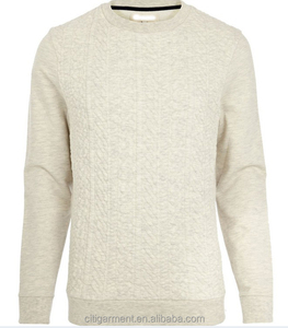 Men's Ecru Cable Quilted Sweatshirt