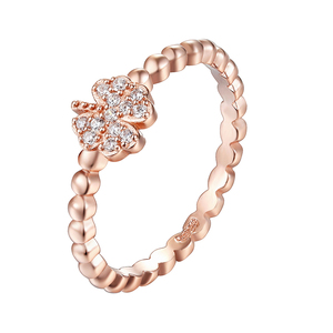 Rose Gold over 925 Sterling Silver beads fancy costume flower CZ rings