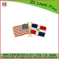 Custom quality USA and Dominican Republic Flag Pin
