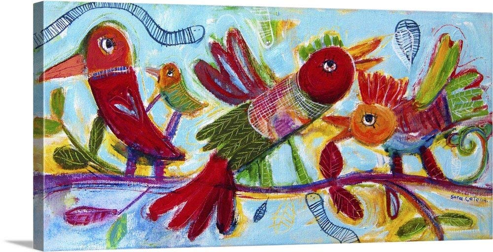 "greatBIGcanvas Gallery-Wrapped Canvas entitled Dream of Love Birds by Sara Catena 24""x12"""