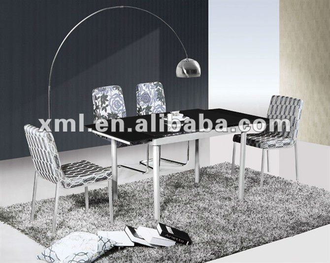 modern metal dining table and chair