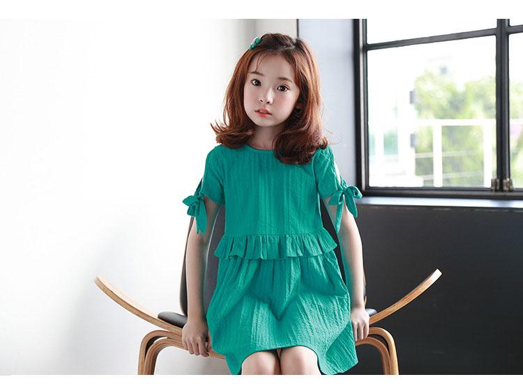 5973fae48b6e19 ruffles patchwork little big girl dresses cotton summer 2018 green princess  mini kids dresses designs Children ...