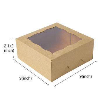 Customized  recyclable kraft paper cake box with window 9*9**2'