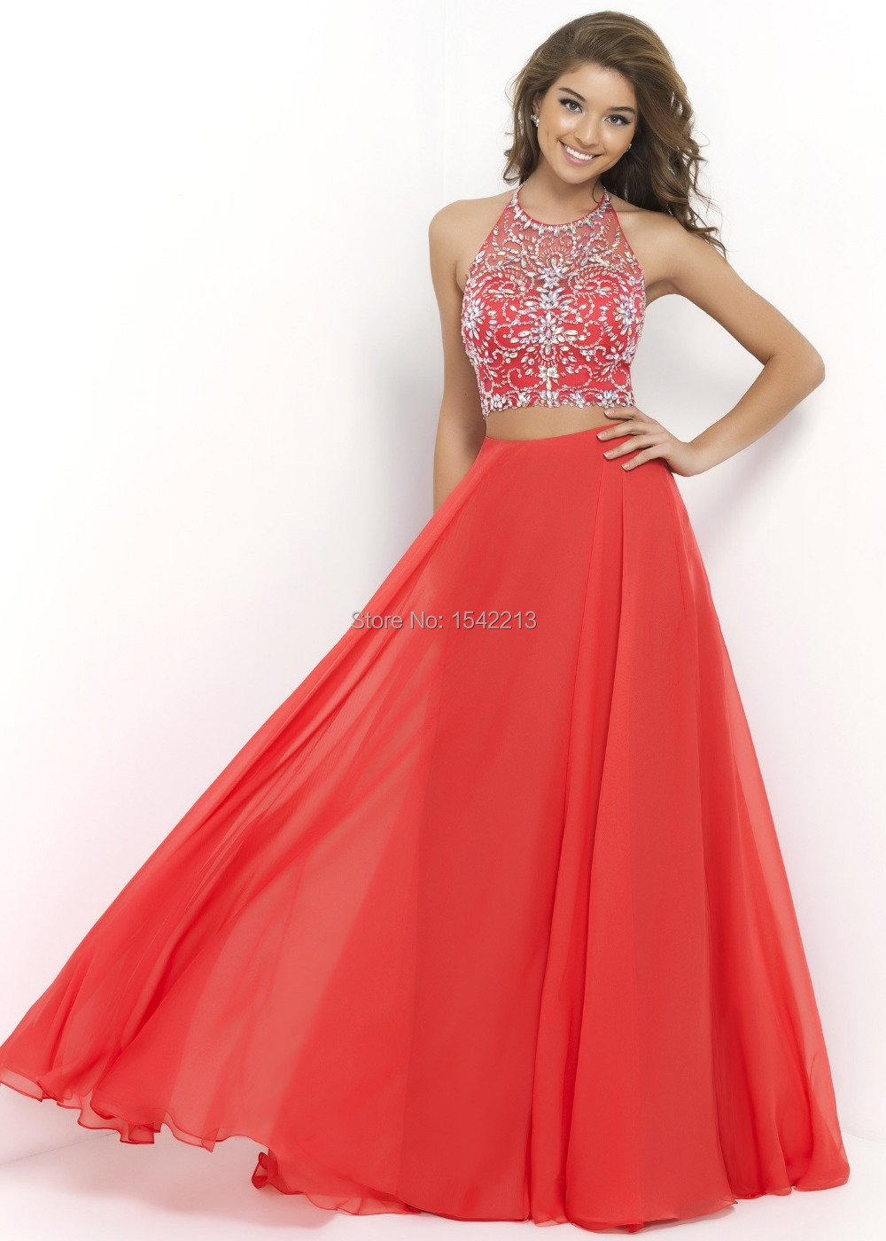 e2195992f62 Get Quotations · Remarkable Red Blue Orange Two Piece Prom Dress Sexy  Crystals Long Women Party Gowns Vestido De
