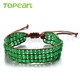 Topearl Jewelry Malaysian Jade Handmade Bracelet Woven Wrap Bangle CLL178
