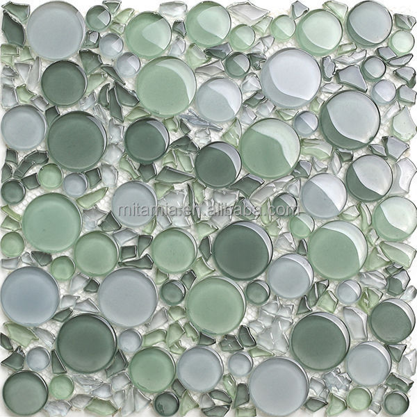 Light Green Crystal Irregular Shape Bubble Gl Bathroom Tile
