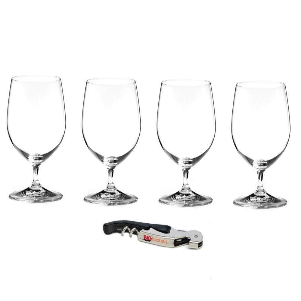 Riedel Vinum Lead-Free Fine Crystal 4 Piece Water Glass Set with Bonus BigKitchen Waiter's Corkscrew