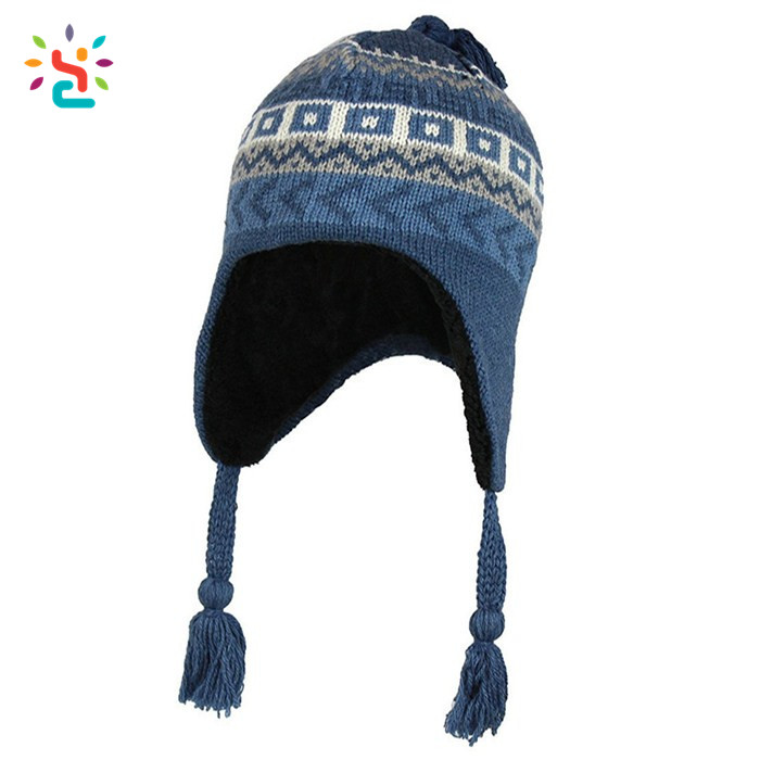 Custom earflap beanie ski hat free knit pattern for hat earflaps tassel  beanie man women winter jacquard hat acrylic ... be1f6b4e066