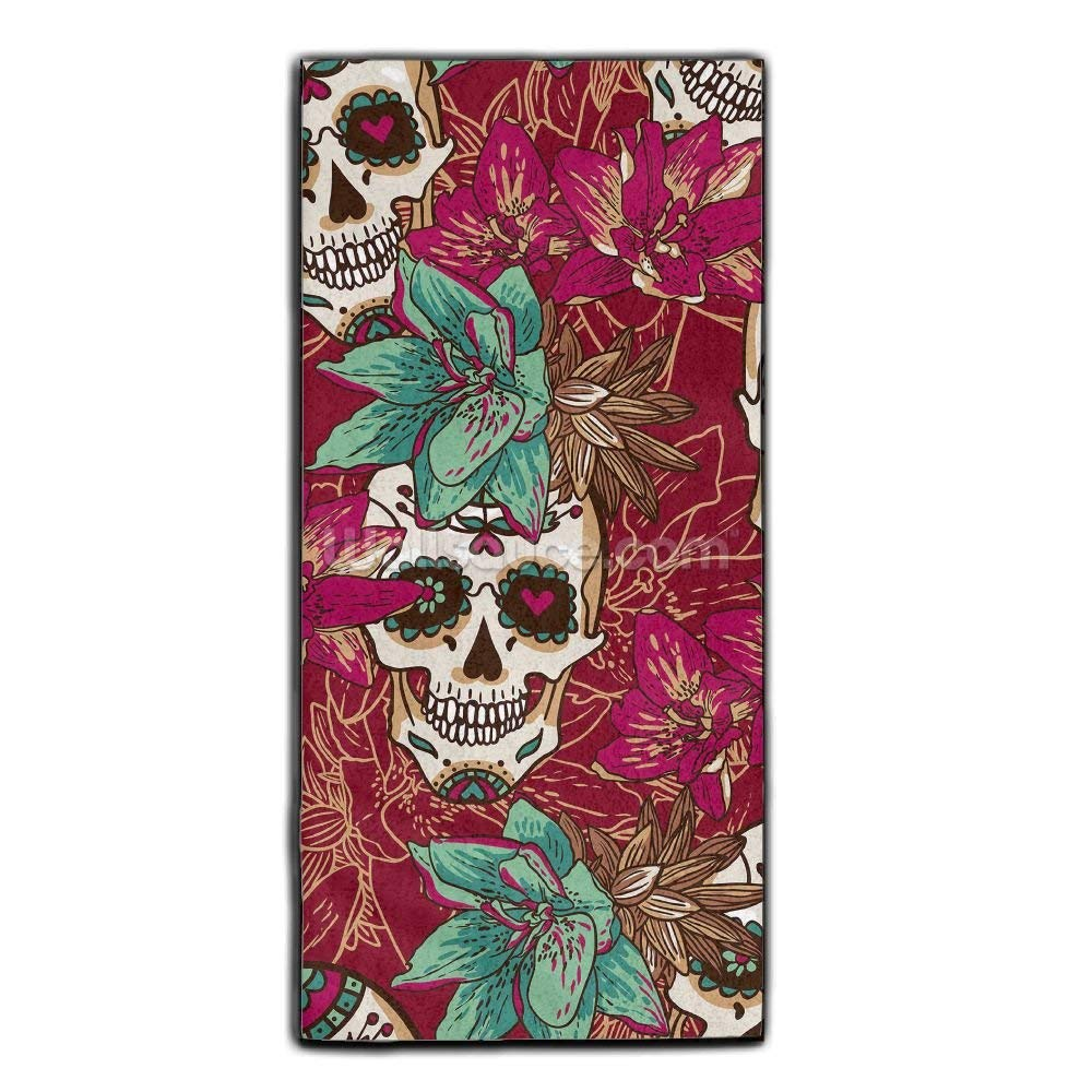Baerg Microfiber Super Absorbent Face Towel Colorful Skull Hair Care Towel Gym And Spa Towel