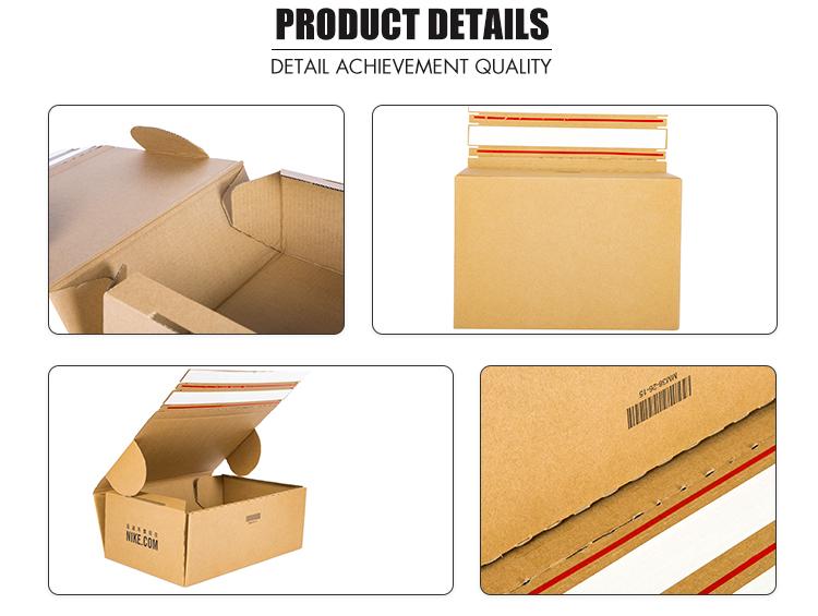 Custom corrugated cardboard shoe box with tear