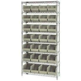 Wire Shelving With (28) Giant Plastic Stacking Bins Ivory, 36x14x74