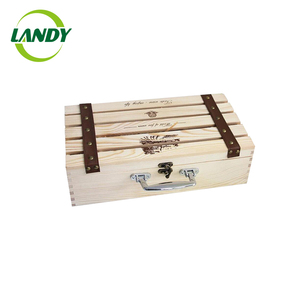 Wholesale bulk 4 bottles wooden wine box/crates with lid cheap wooden crate box