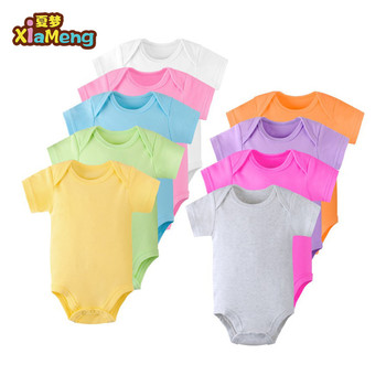 OEM ODM summer white newborn baby clothes romper 100% cotton colorful plain baby onesie