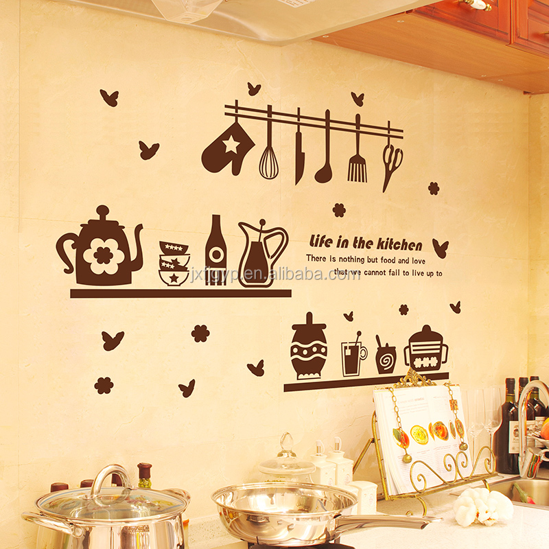 Fashionable wall decoration cartoon kitchenware pattern life in the kitchen wall stickers