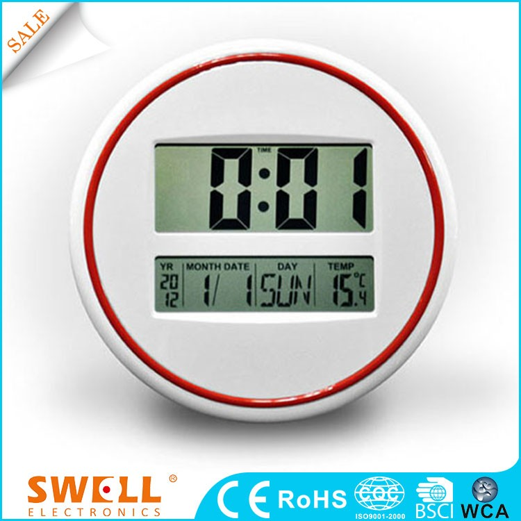 hot sale round lcd digital calendar clock , plastic lcd wall clock