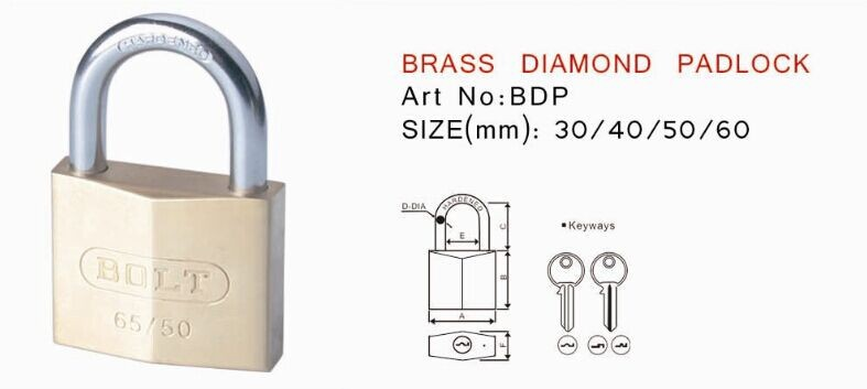 Top Security Solid Brass Diamond/rhombus Padlock With Normal/cross ...