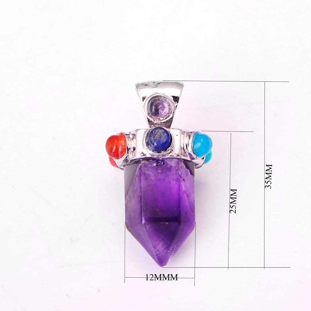 Six Pyramid Column Gemstone Pendant 00SP0172 with Seven Chakra stones on Silver Alloy for women jewelry