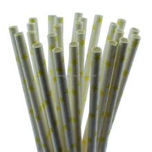 25CT Yellow Star in White Straw 7.76'' Eco-Friendly Biodegradable Colorful Drinking Durable Straws 30712