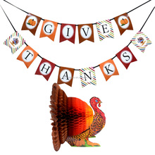 Thanksgiving Day Turkey and Banner Decoration kit for Party Supplies, Giving Thanks banner and Honeycomb Turkey