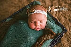 Madison Lace Baby Girl Headband, Newborn Photo Props, Photography Props, Baby Photo Props, Floral, Handmade, Button, Custom Photo Props