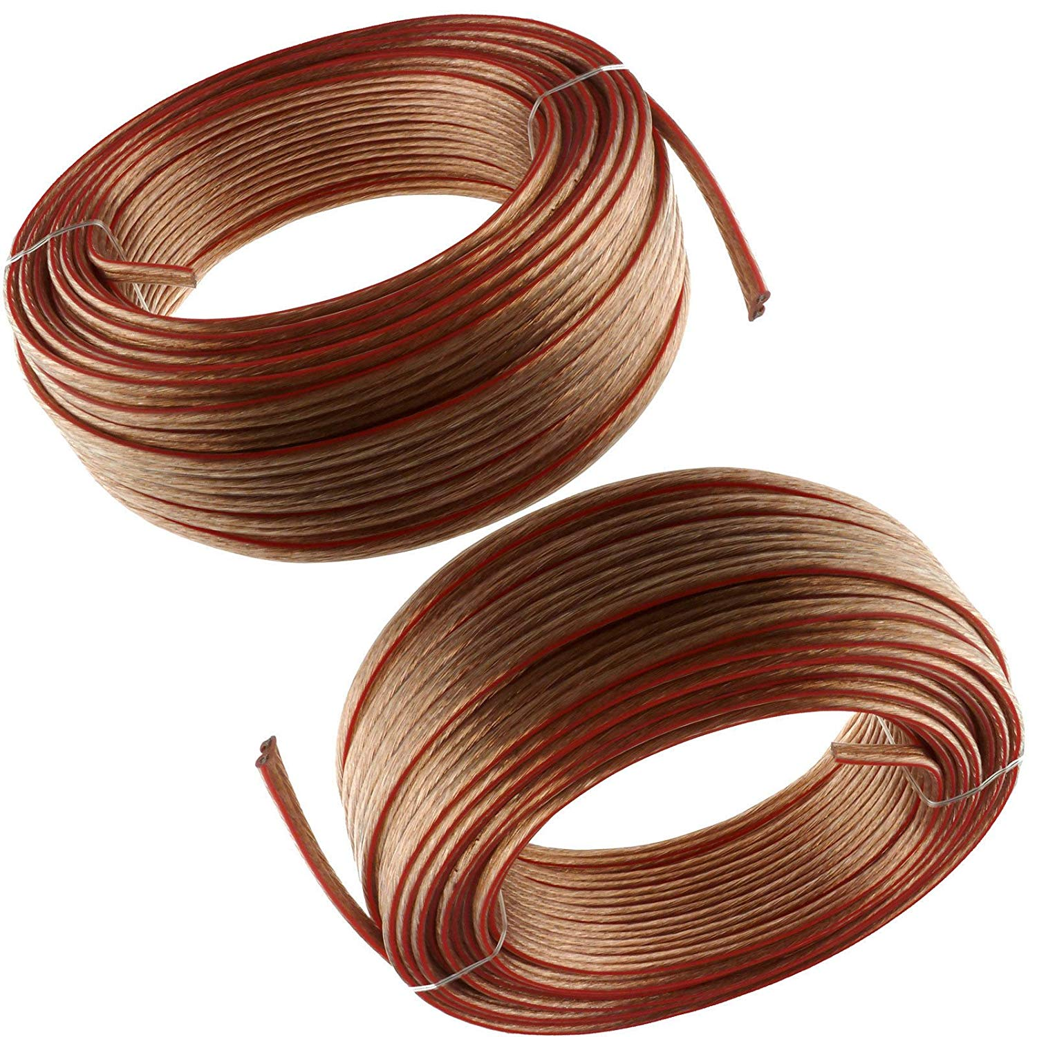 2 x 100'ft feet 2 Cable 16 awg ag Gauge Clear Speaker Wire 200 FT Total