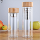 350ML 450ML tea infuser filter borosilicate bamboo lid Sports drink double wall glass water bottle with bamboo top lids
