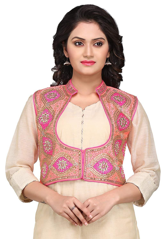 ff7515983c Get Quotations · Utsav Fashion Gota Patti Embroidered Dupion Silk Jacket in  Pink