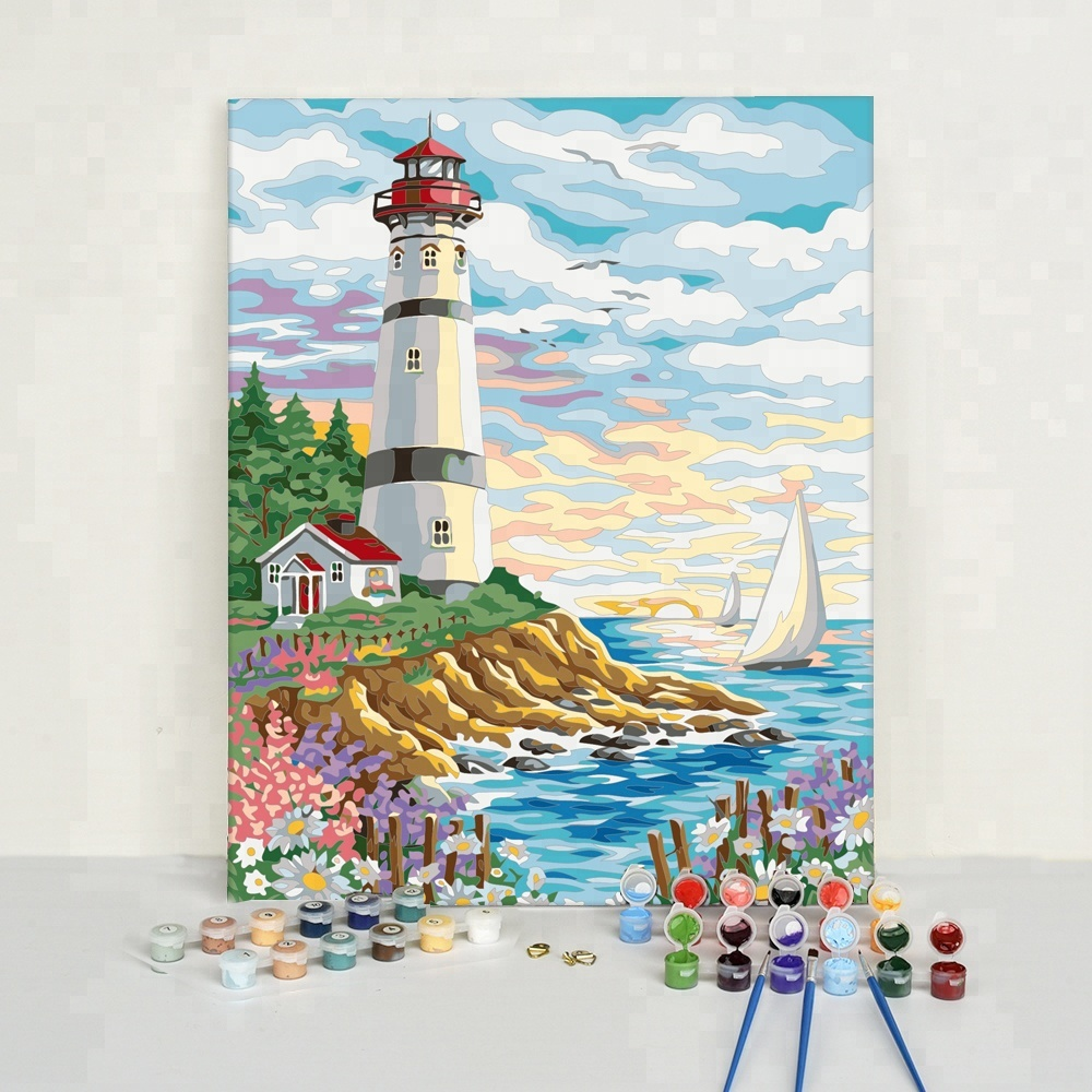 Seaside Lighthouse Diy Painting Pretty Easy Picture painting by Numbers