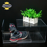JINBAO Factory Custom luxury transparent showcase magnetic drop front acrylic shoe display storage sneaker boxes with lid