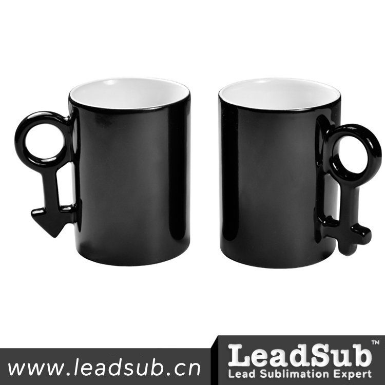 10oz black sublimation photo magic couple color changing thermal mugs with key shape