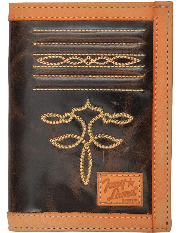 Tony Lama Western Wallet Mens Bifold Stitching Dark Brown WTL191
