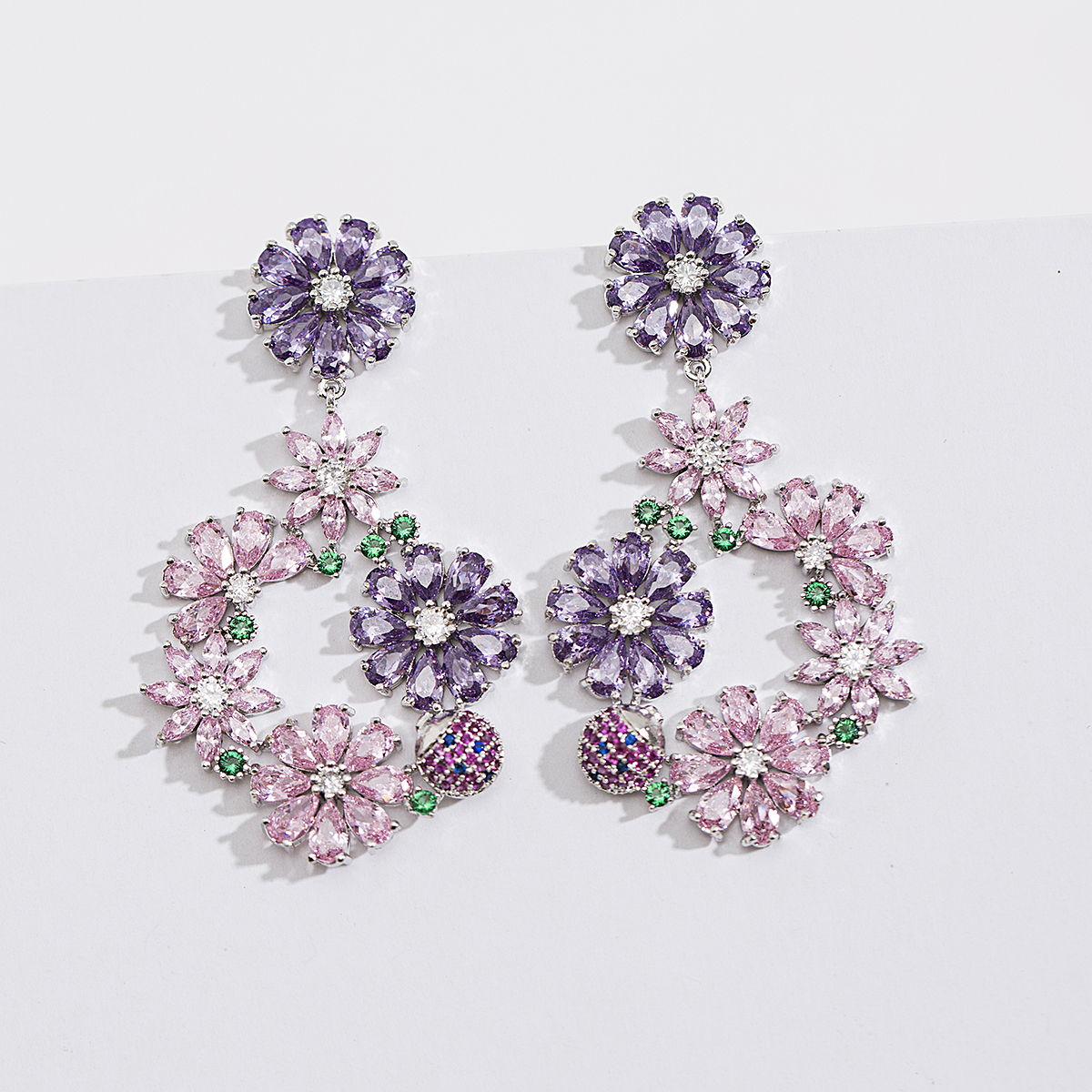 Trendy Drop Costume Ruby Earring Diamond Dangler Earrings Bridal Wedding Jewelry Rhinestone