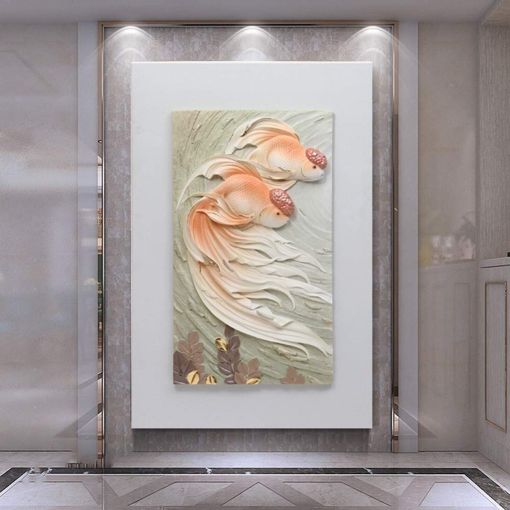 XQY Single Embossed Hanging Painting, Embossed Wall Decoration - New Chinese Frameless Decorative Painting, Sofa Background Wall Painting, Porch Aisle Embossed Three-Dimensional Painting