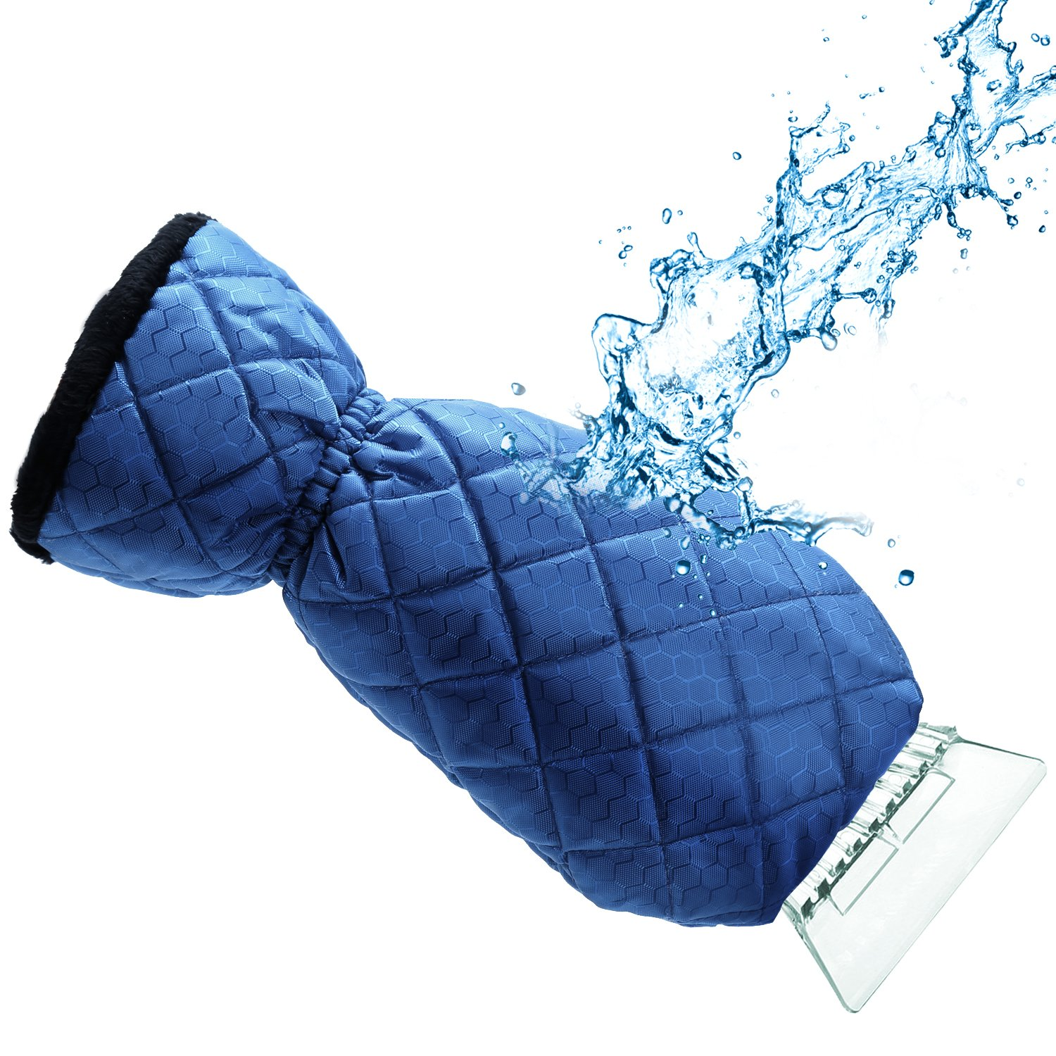 Car Deluxe Windscreen Ice Frost Scraper with Insulated Fleece Lined Glove Mitt