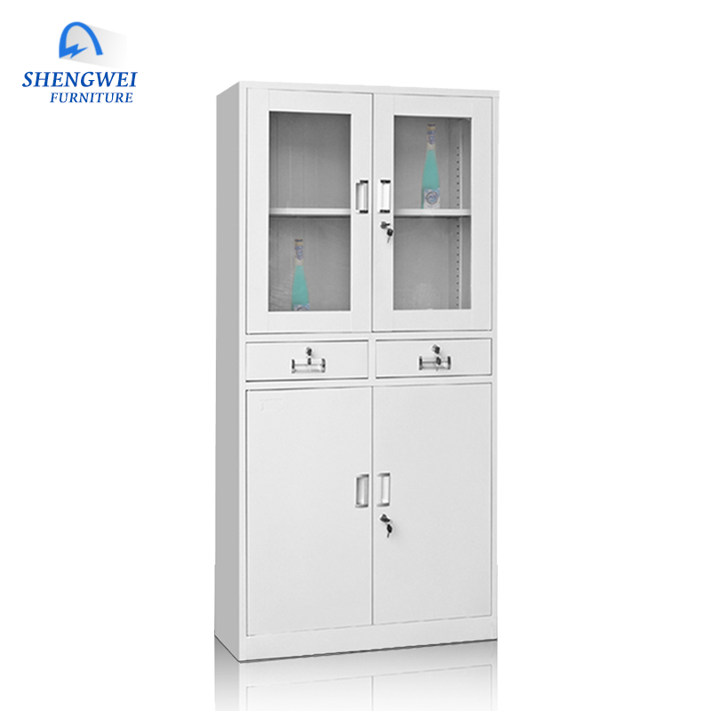 Durable office furniture 2 drawers glass door metal display office filing cabinet