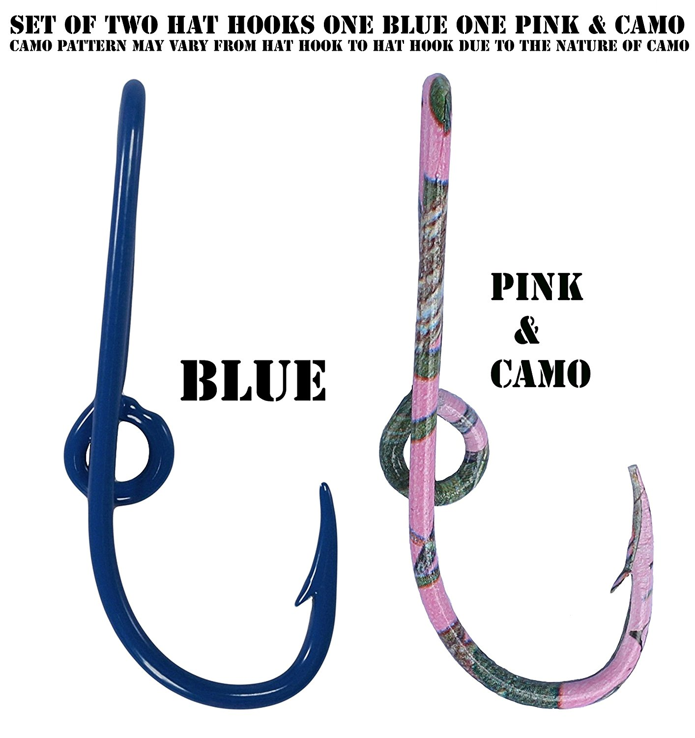 Custom Colored Eagle Claw Hat Fish Hooks for Cap -Set of Two Hat pins- One Blue and One Pink & Camo Hat Hook Money/Tie Clasp