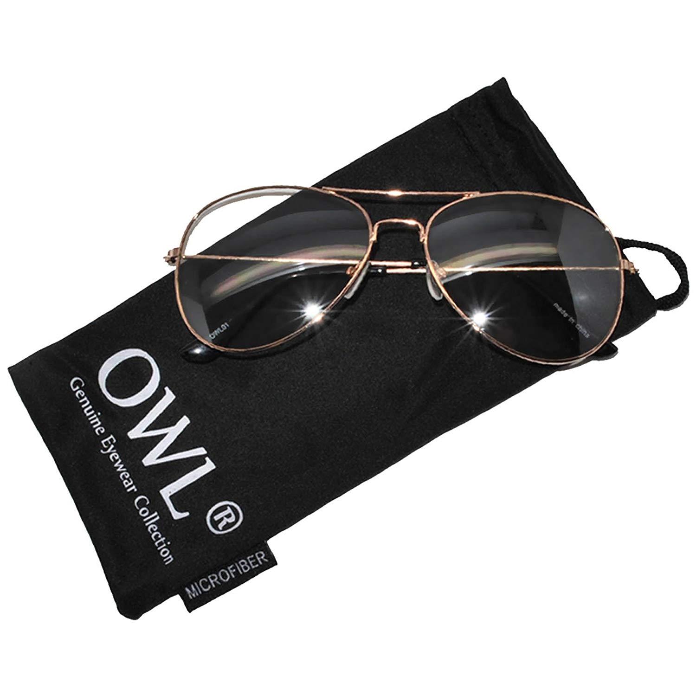 805cb91ac7 Aviator Clear Lens Premium Metal Sunglasses Men s Women s Non-Prescription  OWL